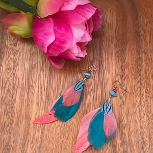 Pink & teal feather earrings